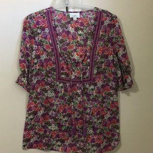 Ann Taylor LOFT cute tassle blouse